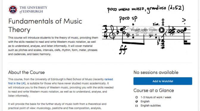 Fundamentals of Music Theory MOOC: how was it for me?
